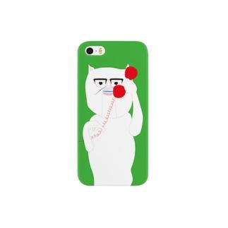 iphoneケースもしも白猫赤電話黄緑 Smartphone cases