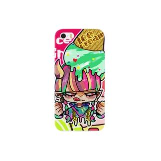 三白眼アイスちゃん Smartphone cases