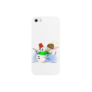 雪だるまと仲良し天使ちゃん Smartphone cases