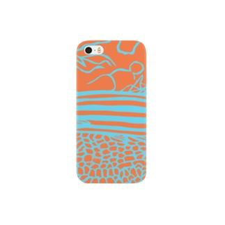 サカナオのオレンジストライプバスレット 切り絵 Smartphone cases