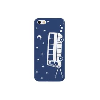 夜行バス出かけましょう(シルエット・ネイビー) Smartphone cases
