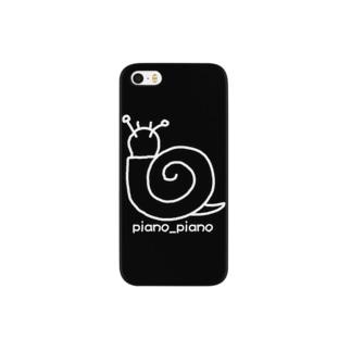 カタツムリ シンプルロゴ(黒地) Smartphone cases