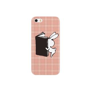 おしりウサギ(ピンクのチェック) スマートフォンケース