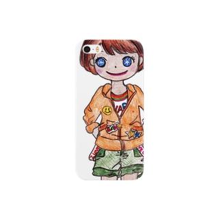 オレンジ色の似合う女の子 Smartphone cases