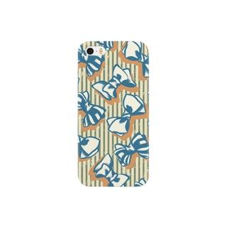 ベージュのりぼんxタテジマ Smartphone cases