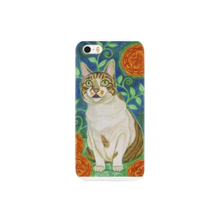 オレンジの花と猫 Smartphone cases
