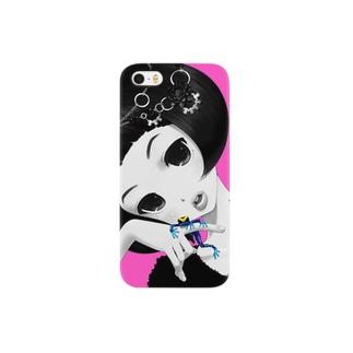 かえるとわたし(ピンク) Smartphone cases