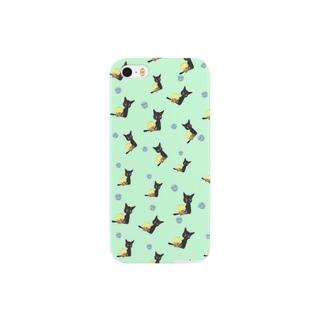 天使のひよこちゃん(ウクレレ)と黒猫ムーン 総柄 Smartphone cases