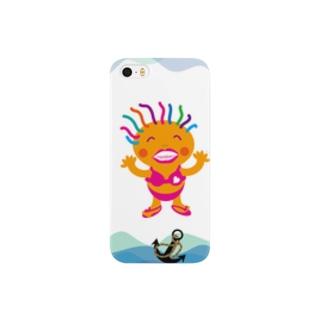 イルカと過ごすマリンパークのクレコちゃん Smartphone cases