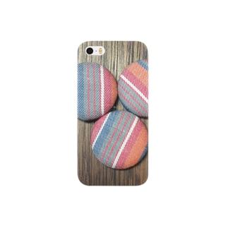 オレンジストライプピンバッジプリント Smartphone cases
