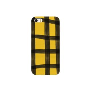 ナチュラルなチェック(イエロー) Smartphone cases