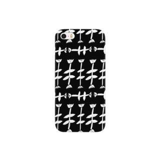 モノクロお花畑 Smartphone cases