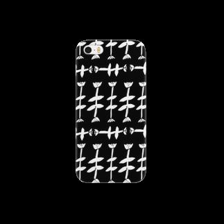 明季 aki_ishibashiのモノクロお花畑 Smartphone cases