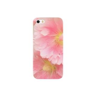 ピンク色のタチアオイ Smartphone cases