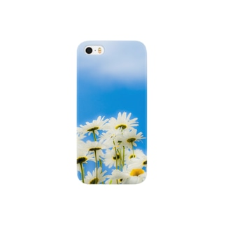 青い空白い花 スマートフォンケース