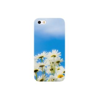 青い空白い花 Smartphone cases