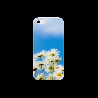 ハリネズミの青い空白い花 Smartphone cases