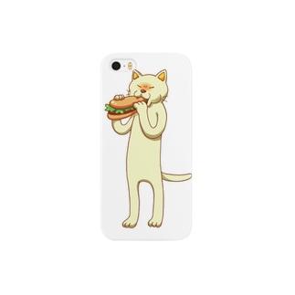 パンをかじる猫 Smartphone cases