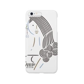 毛先巻き髪の女1 Smartphone cases