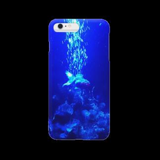 猫月あげはの青の世界の金魚 Smartphone cases