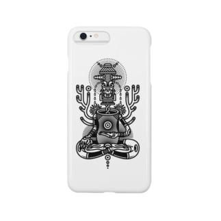 仏陀 黒 Smartphone cases