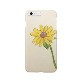 すみれ色のいえの夏のきいろいおはな(水彩画) Smartphone cases