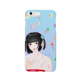 【浴衣少女】空カラフルアイス Smartphone cases