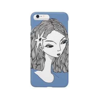 きつそうな顔の美人(blue) Smartphone cases