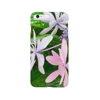 賽子の紫陽花 ピンク Smartphone cases