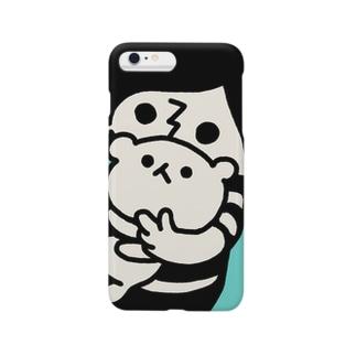 ボーダー坊や(後悔)・水色 Smartphone cases