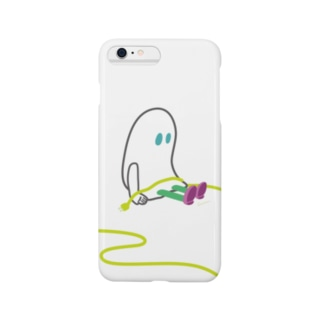 DAY OFFおばけちゃん[黒フチ/green]  Smartphone cases