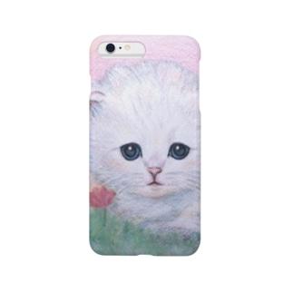 「白くてまるくて、ふわふわ子猫」スマホケース・iPhoneケース Smartphone cases