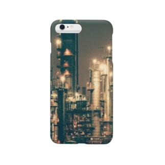 工場地帯 iPhone カバー<グリーン> Smartphone cases