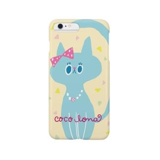りぼんを付けた猫(水色) Smartphone cases