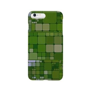 幾何学タイル iPhone カバー<グリーン> Smartphone cases