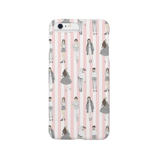 しましまガールズ(ピンク) Smartphone cases