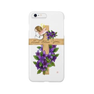 十字架にちょこんと天使ちゃん Smartphone cases