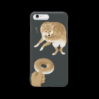 jun_kumaoriのドーナツに興味が移る犬 スマートフォンケース