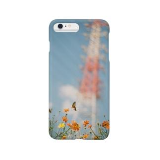 masakaudukiの鉄塔と蝶 Smartphone cases