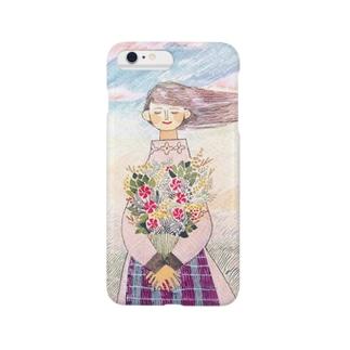 花を抱える少女 Smartphone cases
