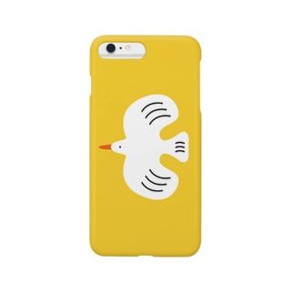 white bird (イエロー) Smartphone cases
