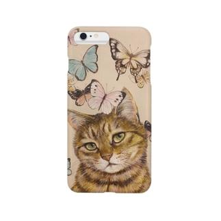 猫に蝶 Smartphone cases