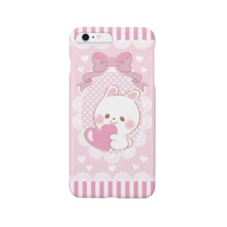 すきすぎるうさぎ ピンク スマートフォンケース