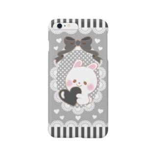 すきすぎるうさぎ 黒 Smartphone cases