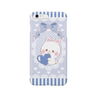 すきすぎるうさぎ 青 Smartphone cases