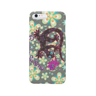 月光装身具ロゴコミカル花柄 Smartphone cases