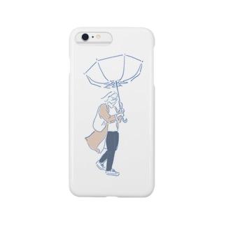 強風で傘が裏返る女の子 スマートフォンケース