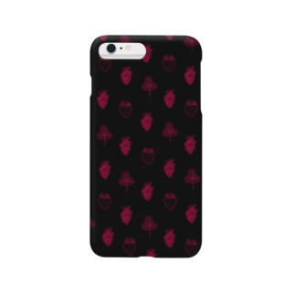Burned Strawberry Moonの心臓と苺(ブラック) Smartphone cases