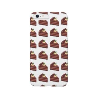 チョコレートケーキのドット絵 Smartphone cases