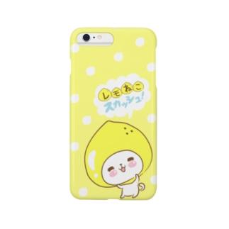 レモねこスカッシュ!レモン水玉 Smartphone cases